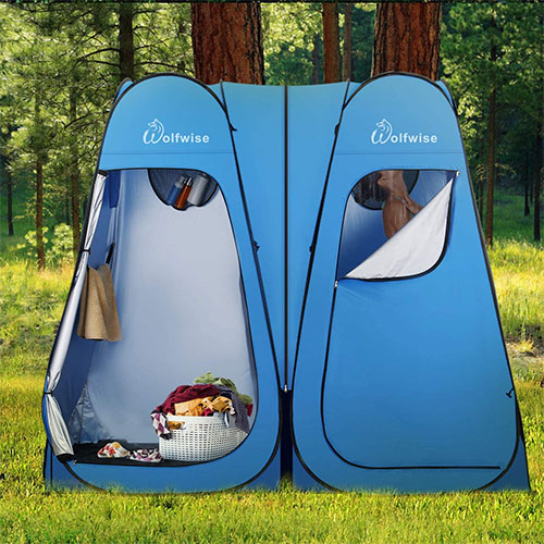 WolfWise Portable Pop-Up Privacy Double Shower Tent